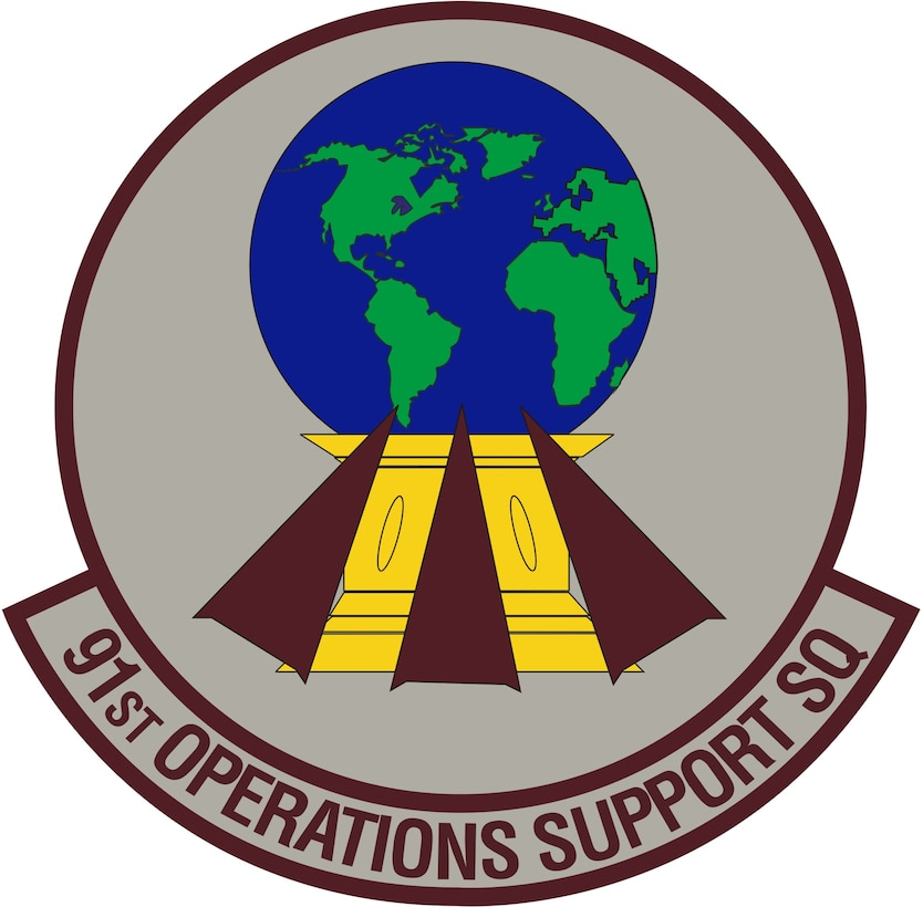 91st Operations Support Squadron (Color). Image provided by 5 BW/HO. In accordance with Chapter 3 of AFI 84-105, commercial reproduction of this emblem is NOT permitted without the permission of the proponent organizational/unit commander. Image is 7 x 7 inches @ 300 dpi