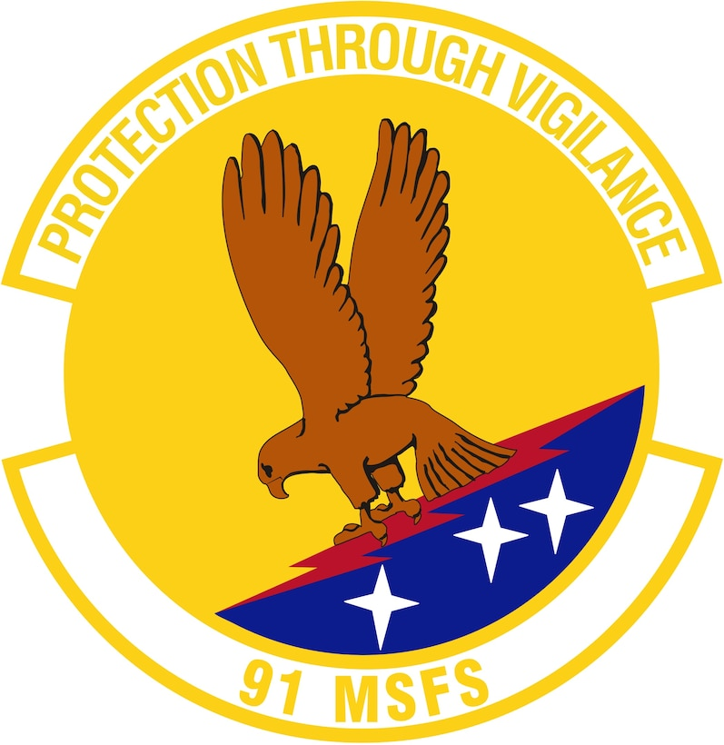 91st  Missile Security Forces Squadron (Color). Image provided by 5 BW/HO. In accordance with Chapter 3 of AFI 84-105, commercial reproduction of this emblem is NOT permitted without the permission of the proponent organizational/unit commander. Image is 7 x 7 inches @ 300 dpi