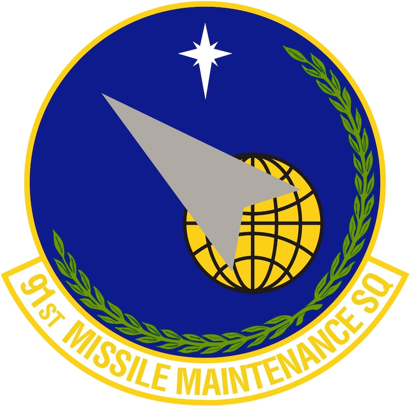 91st Missile Maintenance Squadron (Color). Image provided by 5 BW/HO. In accordance with Chapter 3 of AFI 84-105, commercial reproduction of this emblem is NOT permitted without the permission of the proponent organizational/unit commander. Image is 7 x 7 inches @ 300 dpi