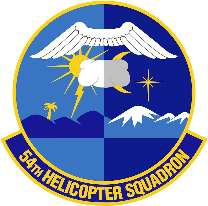 54th Helicopter Squadron patch (Color). Image provided by 5 BW/HO. In accordance with Chapter 3 of AFI 84-105, commercial reproduction of this emblem is NOT permitted without the permission of the proponent organizational/unit commander. Image is 7 x 7 inches @ 300 dpi