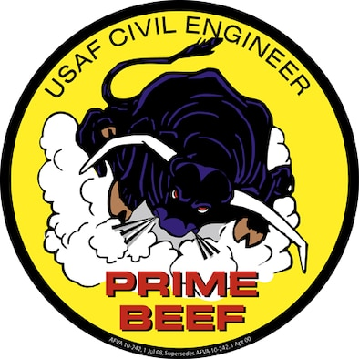 Prime Beef Logo. United States Air Force Civil Engineering (CE) Prime Beef seal (color)