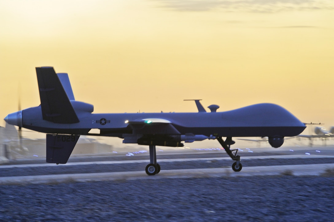 An MQ-9 Reaper taxis at Kandahar Airfield, Afghanistan, Dec. 27, 2009. (U.S. Air Force photo/Tech. Sgt. Efren Lopez)