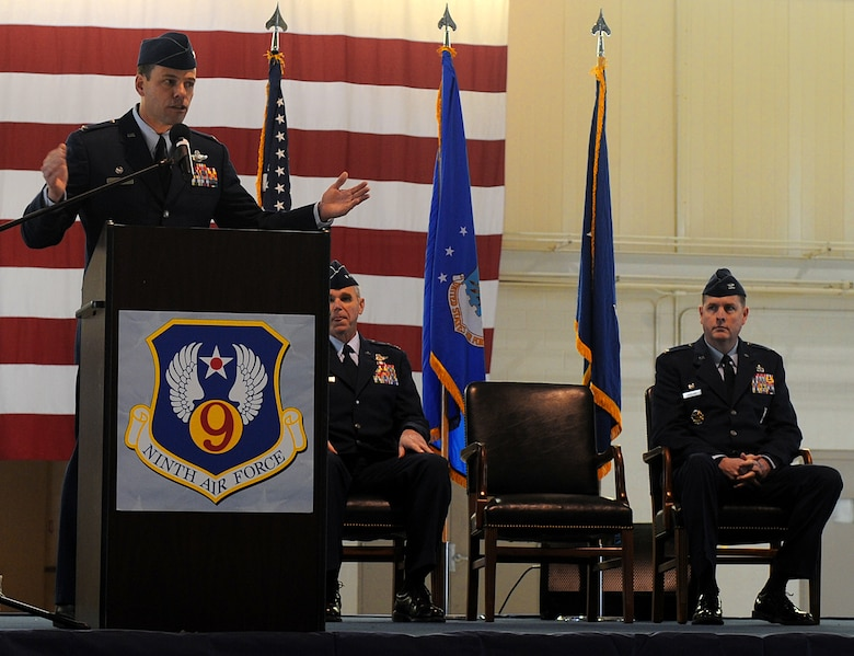 LANGLEY AIR FORCE BASE, Va. --  Col. Matt Molloy, 1st Fighter Wing commander, addresses Team Langley after resigning as installation commander. The activation of the 633d Air Base Wing is the first step in fulfilling congress' 2005 Base Realignment and Closure decision that forms Joint Base Langley-Eustis later this month.  (U.S. Air Force photo/Senior Airman Zachary Wolf)
