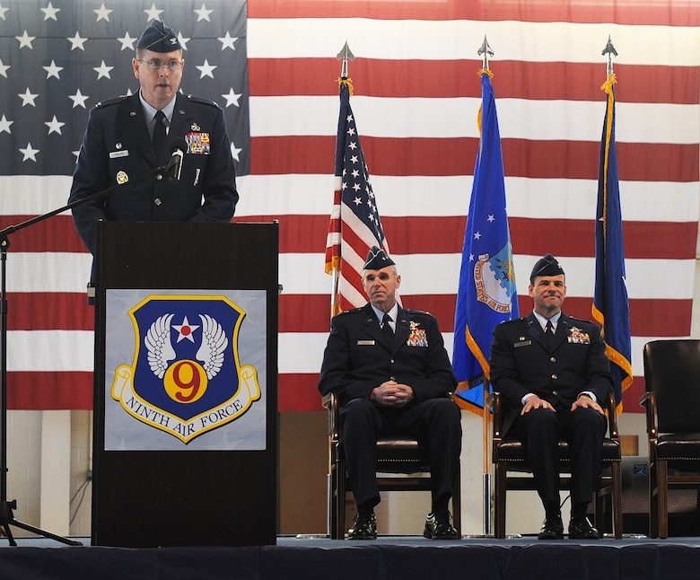 LANGLEY AIR FORCE BASE, Va. -- Col. Donald E. Kirkland, 633d Air Base Wing commander, addresses Team Langley during his change of command of the