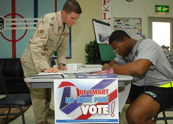 New voting laws require military and overseas voters to submit federal postcard applications for absentee ballots on a yearly basis.  (U.S. Air Force photo/Tech. Sgt. Raheem Moore)