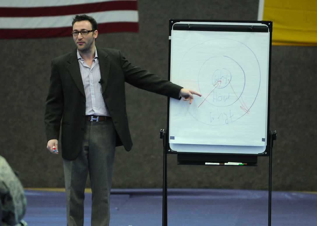 "SPANGDAHLEM AIR BASE, Germany -- Simon Sinek, motivational speaker and author, speaks with members of the 52nd Fighter Wing during his visit here Jan. 7. Mr. Sinek developed the ""The Golden Circle,"" a concept that helps organizations to inspire people to buy or support any product, company or idea. (U.S. Air Force photo/Senior Airman Nathanael Callon)"