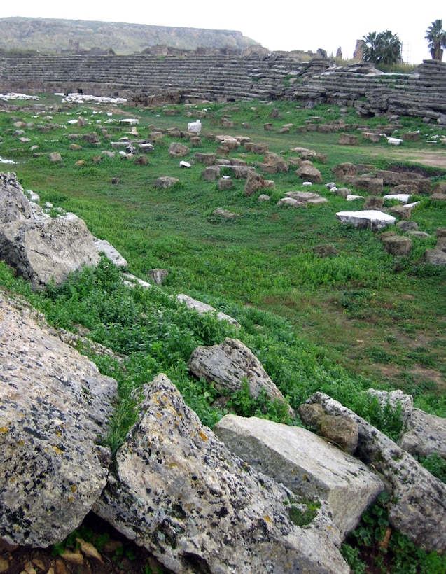 A stadium with a capacity of 12,000, was built around 1000 B.C. partially remain in the city of Perge. It was used for horse racing and animal fighting. In between entry corridors were arched spaces used as shops. (U.S. Air Force photo/Senior Airman Alex Martinez)