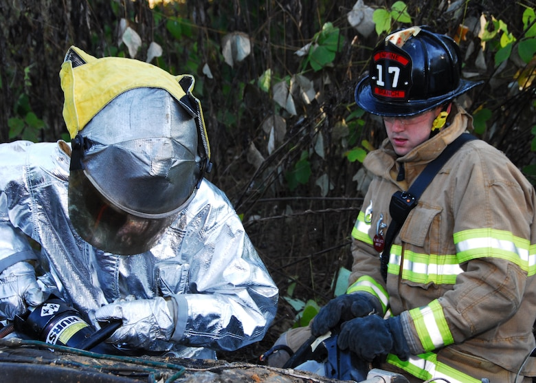 Charlotte Air National Guard Base, NC -- Emergency responders from the North Carolina National Guard assigned to the 145th Civil Engineering Squadron work with responders from the Charlotte, NC Fire Department to stabilize a vehicle during a simulation exercise here October 8.  The North Carolina Air National Guard responds to in-state emergencies, EMAC designated contingencies and federal instances of homeland defense.  The unit currently has members deployed I support of Operations Enduring Freedom and Iraqi Freedom and continues to support the War on Terror.