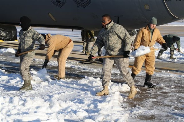 507th Air Refueling Wing Maintenance Crews were hard at work Dec. 26th following a Christmas snowstorm. Crews removed snow from under and around the Wing's KC-135s, allowing the aircraft to be moved. Their efforts enabled all aircraft to remain mission ready, just in time for a Dec. 28th overseas deployment.