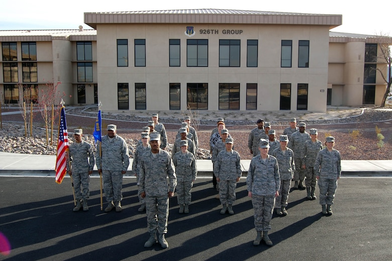 The 926th Mission Support Squadron forms up in front of the 926th Group's new facility during a Unit Training Assembly on Jan. 8. The 926th MSS helped secure 11 numbered Air Force and command-level awards for the group in 2009. (U.S. Air Force Reserve photo/Capt. Jessica Martin)