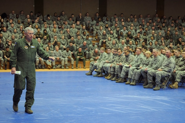 Gen. Roger A. Brady speaks to approximately 1,250 Sabers about the proposed combat Air Force's restructuring, the importance of the Air Force in today's operations and how Spangdahlem Air Base fits into the USAFE mission Jan. 8, 2010 at Spangdahlem AB, Germany. General Brady is the  U.S. Air Forces in Europe commander. (U.S. Air Force photo/Senior Airman Benjamin Wilson)