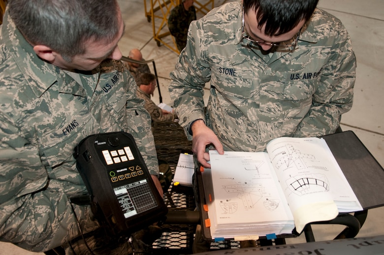 Master Sgt. Kurt Evans, Supervisor of the Nondestructive Inspections (NDI) Lab, 130th Maintenance Squadron, Yeager Airfield, Charleston, W.Va. observes Staff Sgt. Danny Stone, NDI Technician. Staff Sgt. Stone reads the technical order in preparation for using eddy current to test the windshield frame fasteners of a WC-130H Hercules aircraft, Saturday, Jan. 9, 2010. (U.S. Air Force photo by Tech. Sgt. Eugene Crist/Released)