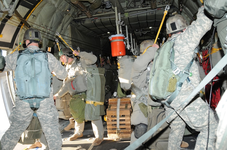 Army 3rd Ranger Battalion out of Fort Benning Georgia jump from the C-130 aircraft. This is the 107th Airlift Wing's first Army Ranger jump training operation. (AF Photo/Senior Master Sgt. Ray Lloyd)
