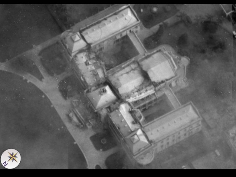 An aerial view of the damaged Presidential Palace in Haiti from an Air Force Global Hawk unmanned aircraft Jan. 14. Aerial images are providing planners valuable situation awareness as they coordinate U.S. military support to the Haiti relief effort. (U.S. Air Force photo)