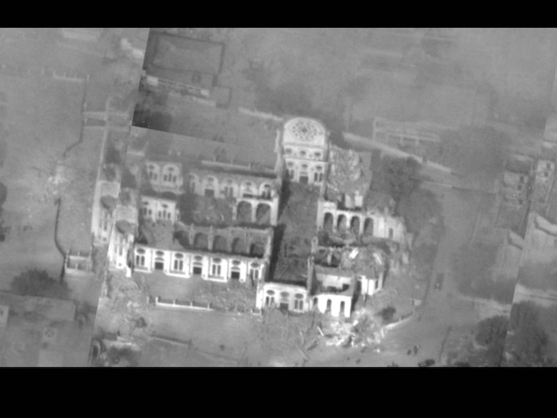 An aerial view of the damaged National Cathedral in Haiti from an Air Force Global Hawk unmanned aircraft Jan. 14. Aerial images are providing planners valuable situation awareness as they coordinate U.S. military support to the Haiti relief effort. (U.S. Air Force photo)