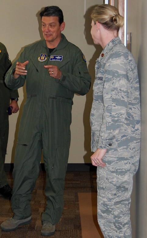 Maj. Gen. Frank Padilla, 10th Air Force commander (left), speaks with Maj. Amy Boehle, 926th Mission Support Squadron commander, and other 926th Group members during his visit here Jan. 14. General Padilla came to Nellis to participate in Air Combat Command's annual Weapons and Tactics Conference, hosted by the United States Air Force Warfare Center. WEPTAC brings together hundreds of warfighters from the Combat Air Forces to discuss current and future issues, and provide solutions for joint employment of forces. The conference produces a prioritized test list that the USAFWC is responsible for executing. As a unit associated with the USAFWC, the 926th GP is integral to accomplishing the Operational Testing and Evaluation, and Tactics, Development and Evaluation operations from this list. General Padilla represents all Air Force Reserve Command forces operating in CAF missions, and fully supports the 926th GP in its Total Force Integration role within the USAFWC.