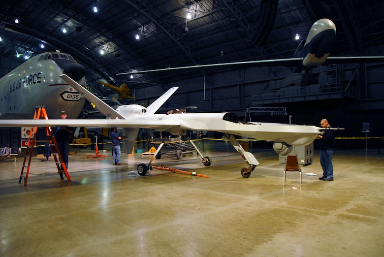 DAYTON, Ohio (01/2010) -- Restoration crews from General Atomics and the National Museum of the U.S. Air Force assemble the General Atomics YMQ-9 Reaper. (U.S. Air Force photo)