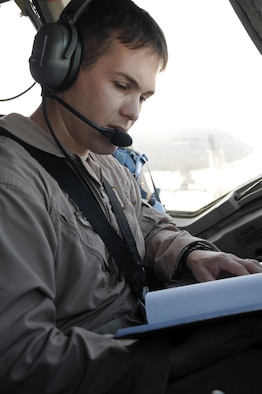 Capt. Wes Spurlock, KC-10 Extender pilot with the 908th Expeditionary Air Refueling Squadron at a non-disclosed location in Southwest Asia, runs through a checklist while preparing a KC-10 for a combat air refueling mission Jan. 22, 2010. Captain Spurlock is a 10-year veteran and  in his deployed duties drives the biggest air refueling aircraft in the Air Force inventory for combat air refueling missions in support of Operations Iraqi Freedom and Enduring Freedom and the Combined Joint Task Force-Horn of Africa. Captain Spurlock is deployed from Travis Air Force Base, Calif., and his hometown is Norco, Calif. (U.S. Air Force Photo/Tech. Sgt. Scott T. Sturkol/Released)