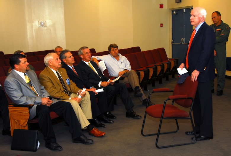 U.S. Senator John McCain talks with members of the 162nd Fighter Wing Minuteman Committee about his support for Tucson as a candidate for the Air Force's new F-35 Lightning II, Nov. 24, 2009. Last week the committee launched the F-35 support project, Tucson Lightning. Southern Arizonans may now register their support for Tucson on the Tucson Lightning Web site, TucsonF35.com. (Courtesy photo)