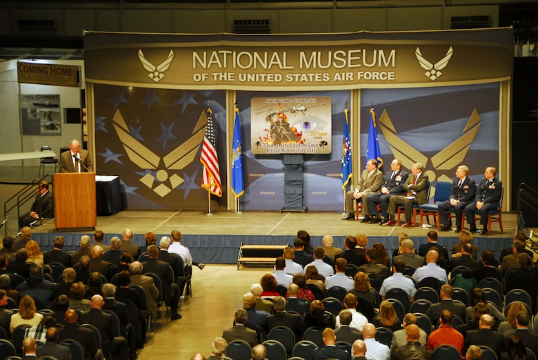 DAYTON, Ohio -- Thomas J. Cassidy Jr., president of General Atomics Aeronautical Systems, Inc. Aircraft Systems Group, addresses the audience during the MQ-9 Reaper exhibit opening at the National Museum of the U.S. Air Force on Jan. 25, 2010. (U.S. Air Force photo)
