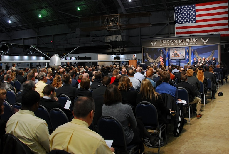 DAYTON, Ohio -- Gen. (Ret.) John P. Jumper, former Air Force Chief of Staff, addresses the audience during the MQ-9 Reaper exhibit opening at the National Museum of the U.S. Air Force on Jan. 25, 2010. (U.S. Air Force photo)