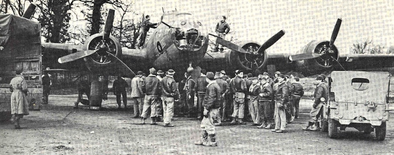 Airmen from the Mighty Eighth stationed in England documented the return of the bombers, such as this B-17 pictured here, that participated in the historic Wilhelmshaven bombing mission. (Photo courtesy of 8th Air Force History Office)