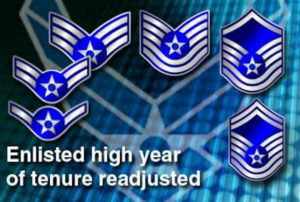 Air Force manpower and personnel officials announced Jan. 27, 2010, a return of enlisted high year of tenure limits to their pre-2003 levels. The change will initially affect approximately 2,500 Airmen; 500 senior airmen, 400 technical sergeants, 1,200 master sergeants and 400 senior master sergeants. The HYT for senior master sergeant, master sergeant, technical sergeant and senior airman will return to 26, 24, 22 and 10 years, respectively. The HYT limits for both chief master sergeant (30 years) and staff sergeant (20 years) will remain the same since they were not raised in 2003.