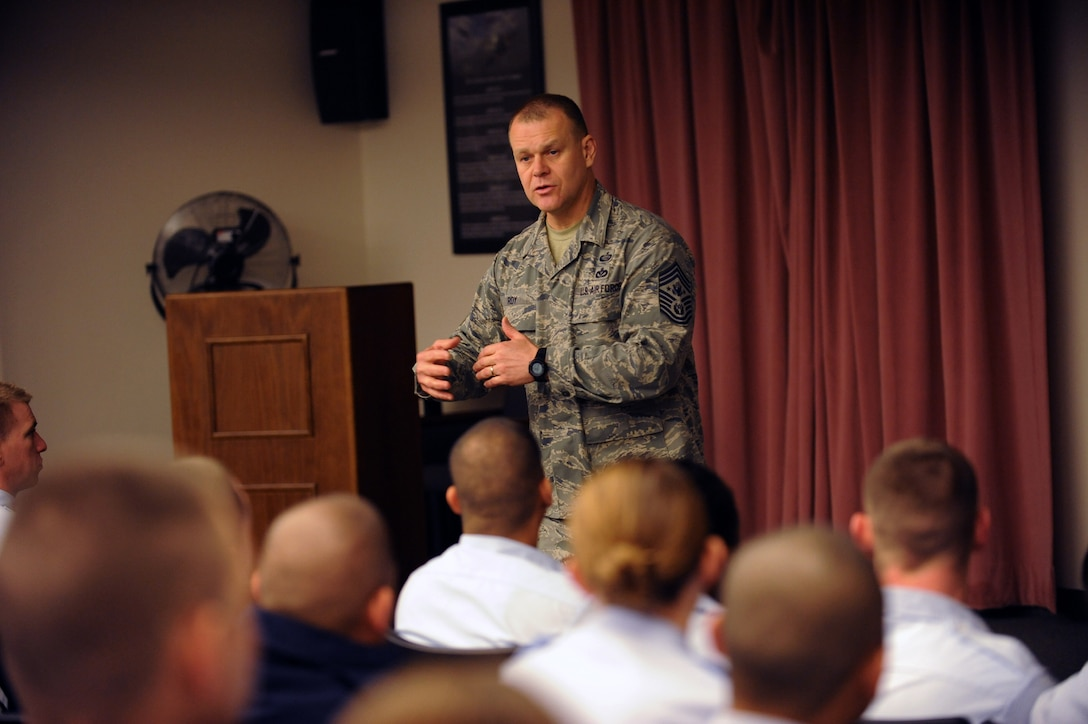 NELLIS AIR FORCE BASE, Nev. -- Chief Master Sgt. of the Air Force James A. Roy discusses current Air Force events with Airman Leadership School students Jan. 22, 2010, at Nellis Air Force Base, Nev. (U.S. Air Force photo/Airman 1st Class Brett Clashman)