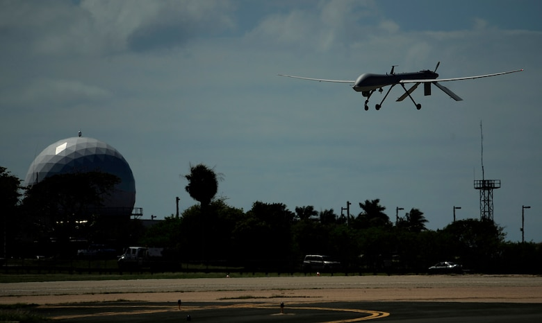 A U.S. Air Force RQ-1 Predator from the 432nd Wing, Creech Air Force Base, Nevada lands at Aeropuerto Rafael Hernandez outside Aguadilla, Puerto Rico on 28 Jan., 2010.  The RQ-1 remotely piloted systems are operating out of Puerto Rico in support of Operation Unified Response in Haiti.  Airmen from Creech Air Force Base, Las Vegas, Nev. are providing 24 hour a day full-motion video in real time to international relief workers on the ground in order to speed humanitarian aid to remote and cut-off areas of the country following the earthquake on 12 Jan., 2010. (U.S. Air Force photo by Tech. Sgt. Jaime Mendez)