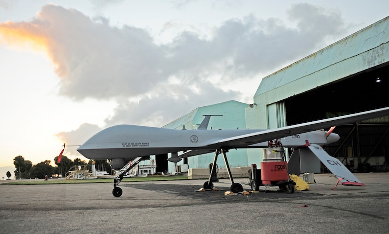 An RQ-1 Predator prepares for takeoff at Aeropuerto Rafael Hernandez Jan. 27, 2010, outside Aguadilla, Puerto Rico. The remotely piloted aircraft are operating out of Puerto Rico in support of Operation Unified Response in Haiti. Airmen from Creech Air Force Base, Nev., are providing 24-hour-a-day full-motion video in real-time to international relief workers on the ground in order to speed humanitarian aid to remote and cut-off areas of the country following the earthquake Jan. 12, 2010. (U.S. Air Force photo/Tech. Sgt. James L. Harper Jr.)