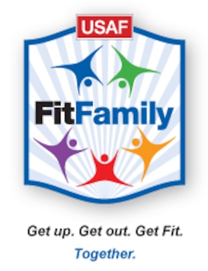 "FitFamily is an Air Force program that encourages families to ""get up, get out and get fit together.""  (U.S. Air Force graphic)"