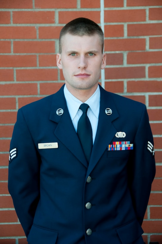 Senior Airman, Joshua Brown, is awarded Airman of the year at the 139th Airlift Wing.