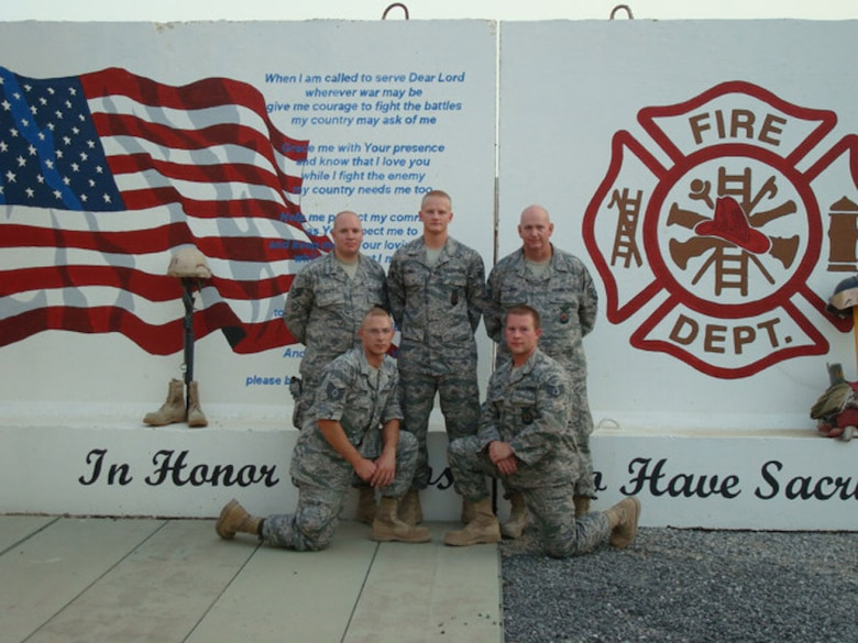 Five members of the 139th Airlift Wing Fire Department on deployment posed for a picture last year. In back from left are Staff Sgt. Nathaniel Stitt, Senior Airmen Bryant Hall and Master Sgt. David Jean. In front are Tech. Sgt. Michael Geeting, left, and Tech. Sgt. Kyle Clark.