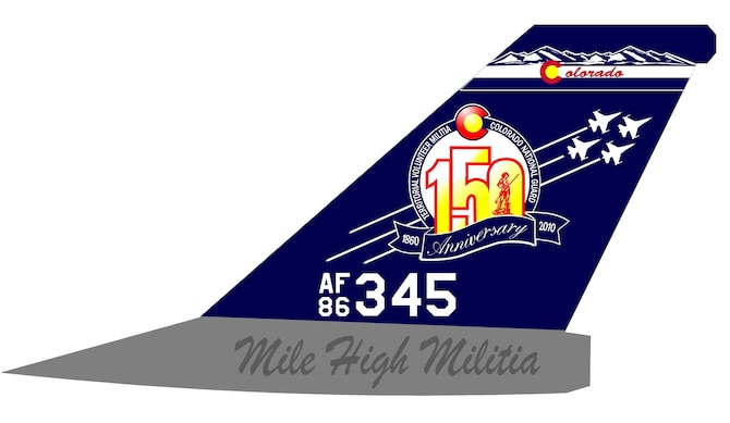 In honor of the 150th Anniversary of the Colorado National Guard, the 140th Wing painted an F-16 tail flash to commemorate this anniversary.  The flash was designed by Visual Information Coordinator, U.S Army Master Sgt. Dave Schmidt, and painted by 140th Wing maintainers, Master Sgt. Jim Riser and Technical Sgt. Phil Kistler.  The jet will remain painted and flown by 140th Wing Commander, Brig. Gen. Trulan A. Eyre, throughout 2010.