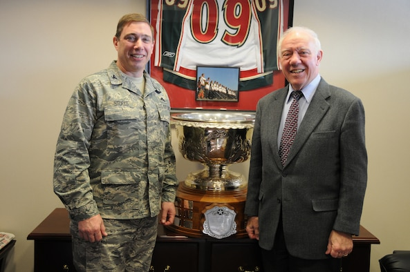 Colonel Frank Stokes, Wing Commander of the 148th Fighter Wing in Duluth, MN poses with Minnesota Congressman Jim Oberstar in front of the prized Raytheon Corporation Trophy. The Raytheon Trophy was awarded to the 179th Fighter Squadron of the 148th Fighter Wing, for being the most outstanding air defense unit in the U.S. Air Force, marking only the fourth time an Air National Guard unit receieved this award since its inception in 1953. (U.S. Air Force photo by Tech. Sgt. Brett R. Ewald)