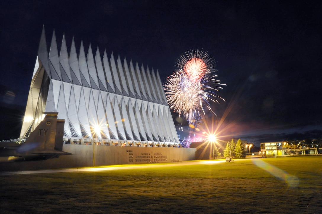 Fireworks explode over the Air Force Academy Cadet Chapel during the Independence Day fireworks show at the Air Force Academy July 4, 2009. (U.S. Air Force photo/J. Rachel Spencer)