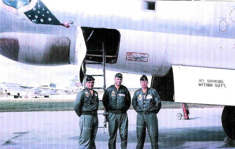 Lieutenant Welch's grandfather retired Col. Don Sprague (center) poses in front of a B-47 in 1962 just before he started flying the B-52. First Lt. Daniel Welch has some big shoes to fill; four of them to be exact. Lieutenant Welch, a pilot with the 11th Bomb Squadron at Barksdale Air Force Base, La., will become the third consecutive generation of B-52 flight officers in his family. (courtesy photo)