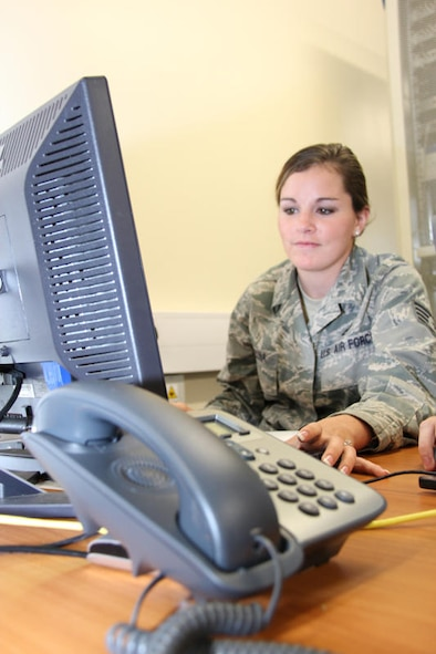 Staff Sgt. Mary Medina, 52nd Combat Communications Squadron works on the validation of the teams Voice over Internet Protocol solution that bridges US and UK Secure Voice communications during United Architecture 2010.  UA2010 is a US-UK interoperability communications exercise held at RAF Lemming, United Kingdom June 21 to July 2. (US Air Force photo by Master Sgt. Robert Talenti)
