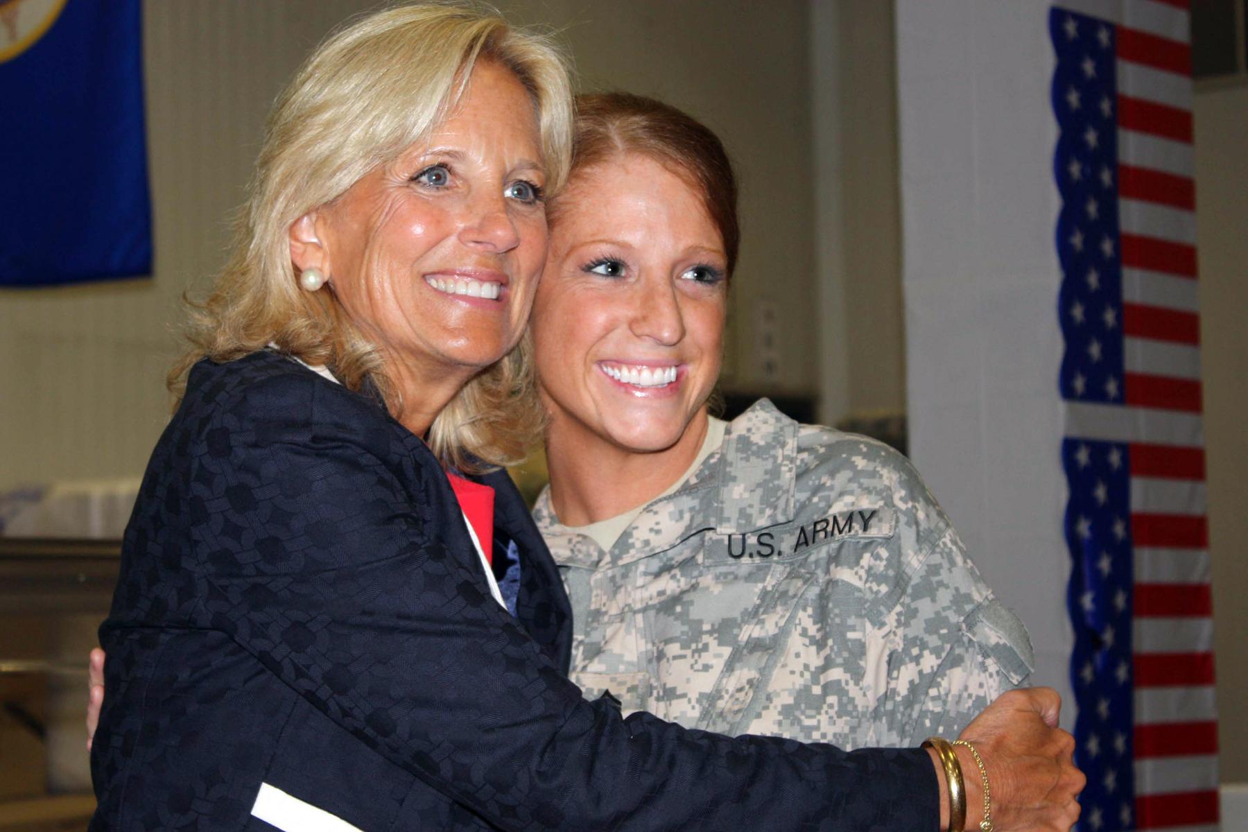 Dr Jill Biden Wife Of Vice President Joe Biden Greets A Soldier At