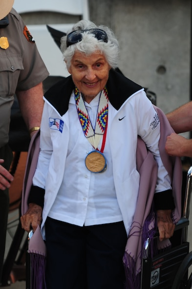ELLSWORTH AIR FORCE BASE, S.D. – Ola Mildred Rexroat attends the 2010 Independence Day celebration at Mt. Rushmore National Memorial, July 3. Mrs. Rexroat served as a Woman Air Service pilot during World War II.  (U.S. Air Force Photo/Airman 1st Class Corey Hook)