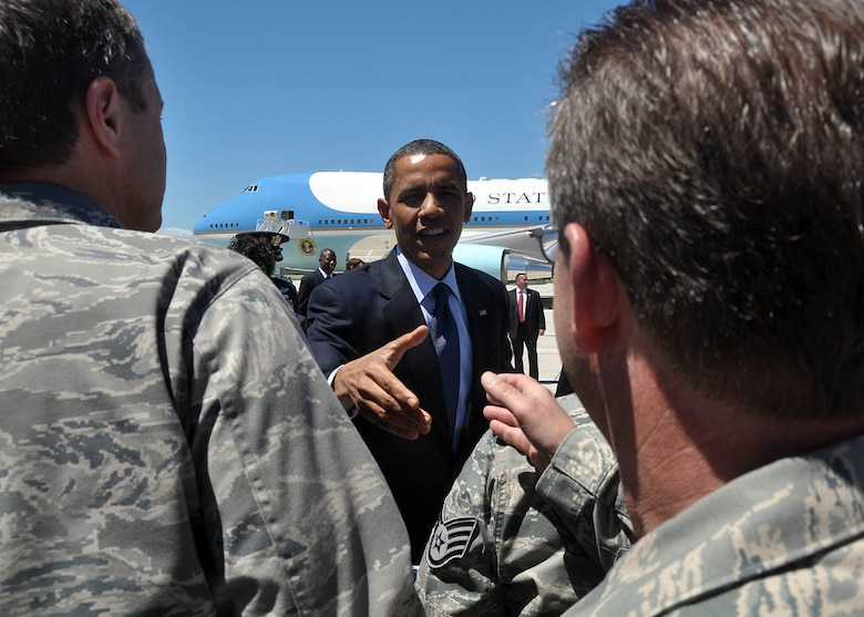 President Obama greeted and shook hands with Milwaukee's Air Guardsmen shortly after landing Wednesday, 30 June 2010.