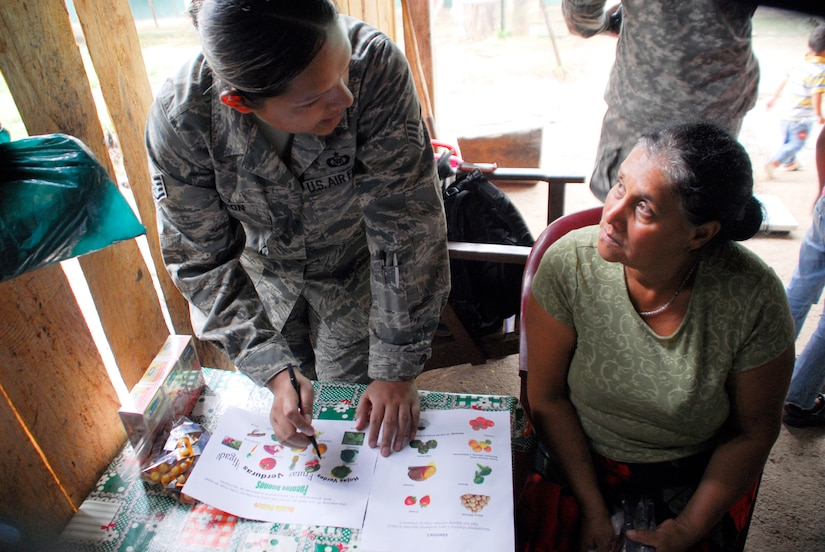 LOS PLANES, Honduras --  Staff Sgt. Dulce Caron, a 612th Operations Support Squadron interpreter, explains the benefits of a balanced diet with a Honduran woman during a medical readiness training exercise here June 28. This particular program, in which Sout Dakota State University students and Joint Task Force Bravo Medical Element doctors assist the Honduran Ministry of Health with assessing nutritional needs of children in rural areas, began in 2001. (U.S. Air Force photo/Tech. Sgt. Benjamin Rojek)