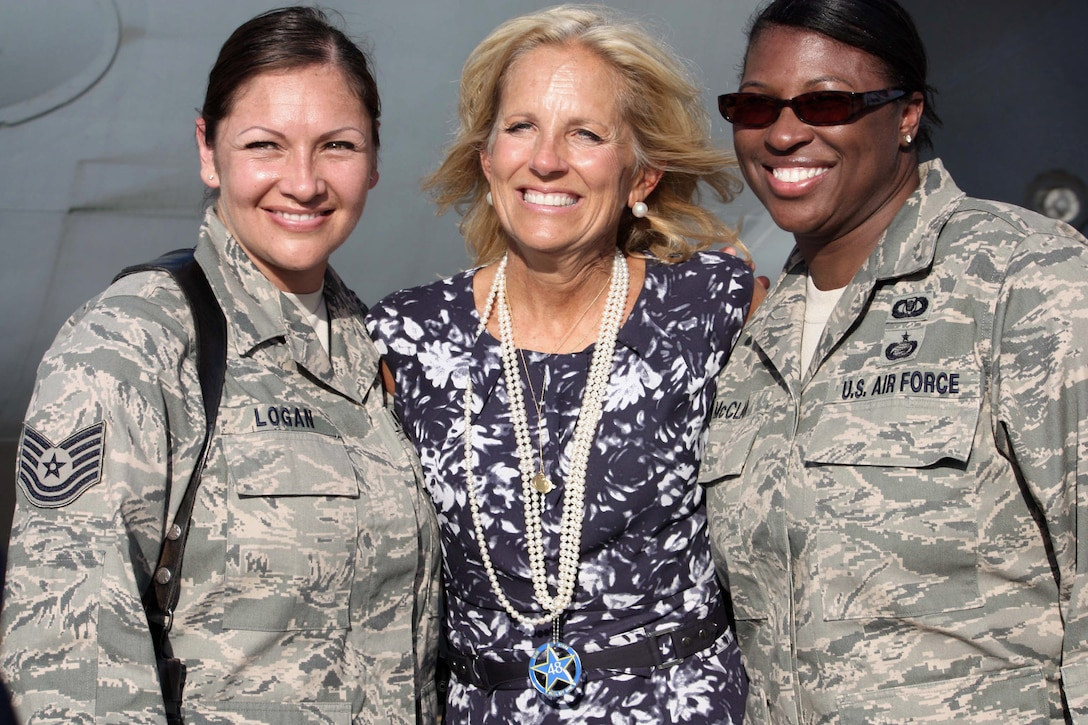 Dr. Jill Biden, wife of Vice President Joe Biden, visits with airmen on the flightline at Baghdad International Airport before departing Iraq, July 5, 2010. The Bidens spent  Fourth of July weekend visiting U.S. troops and senior Iraqi leaders in Iraq.