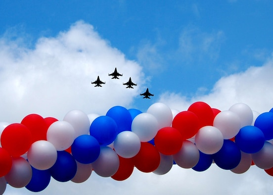 Four F-16s from the 140th Wing, Colorado Air National Guard, fly over Longmont, Colorado on the 4th of July in celebration of our nation's 234th birthday.