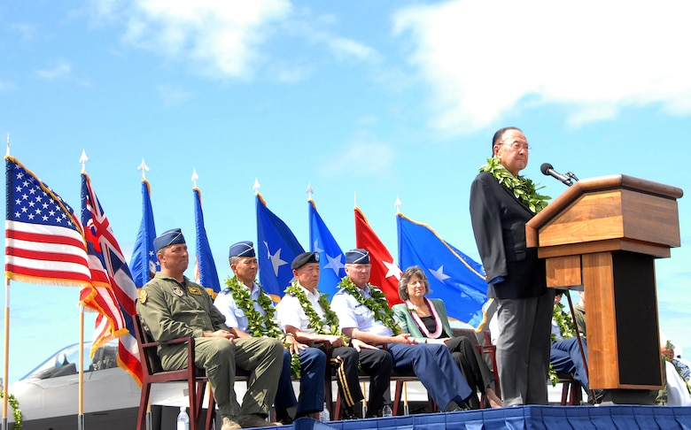 U.S. Senator Daniel K. Inouye speaks at the F-22 Arrival Ceremony July 9, on Joint Base Pearl Harbor-Hickam, Hawaii. Senator Inouye was on hand to help usher in a new era between the Hawaii Air National Guard and Active Duty Air Force. The arrival of the F-22 Raptor marks the beginning of a new associate unit between the 154th Wing, Hawaii Air National Guard, and the 15th Wing, active duty Air Force. This is the first time an F-22 Raptor associate unit will be led by the Guard. (U.S. Air Force photo/Tech. Sgt. Betty J. Squatrito-Martin)