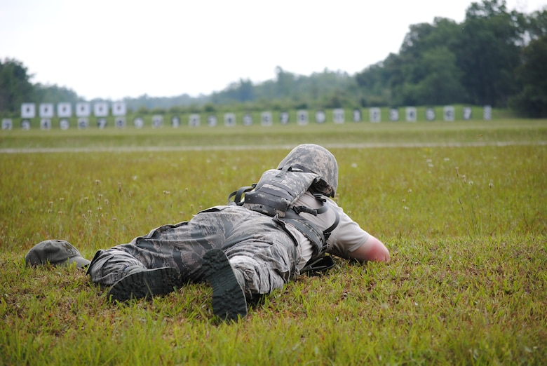 Technical Sergeant Rice of the 164AW fires from a prone position at targets 400 yards away during 2010 Tennessee Air NAtional Guard shooting competition.