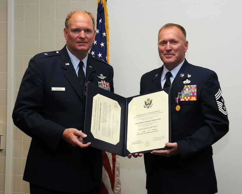 A retirement ceremony was held on the Utah Air National Guard base for General David M. Hooper and Chief Robert A. Hill July 10. General David M. Hooper and Chief Robert A. Hill both served in the military for 32 years.  (U.S. Air Force photo by Staff Sgt. Emily Monson)