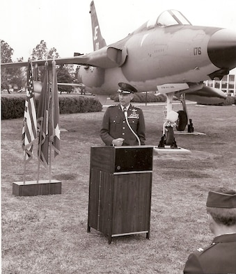 Then Air University commander Lt. Gen. Charles Cleveland speaks at the opening ceremony of Maxwell's Air Park. The air park was founded April 1983 and is located on Academic Circle. (File photo)