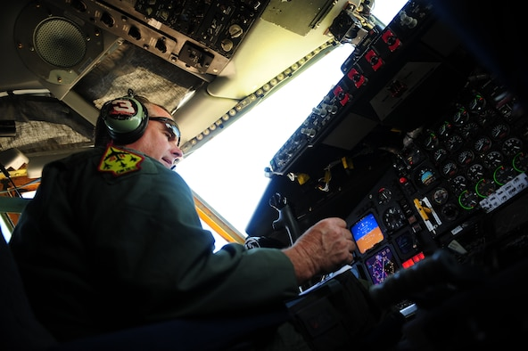 U.S. Air Force Lt. Col Daryl Humphrey, a KC-135 Stratotanker pilot assigned to the 465th Air Refueling Squadron, Tinker Air Force Base, Okla., prepares an aircraft for takeoff during exercise Rim of the Pacific (RIMPAC) at Joint Base Pearl Harbor Hickam, Hawaii, July 9, 2010.  RIMPAC 2010 is the 22nd in a series of significant international combined/joint military exercises scheduled biennially by U.S. Pacific Fleet and takes place in the Hawaiian operating area.  RIMPAC training operations include participation by more than 14 nations, 34 ships, five submarines, more than 100 aircraft, and more than 20,000 Soldiers, Sailors, Marines and Airmen.  Multilateral exercises such as RIMPAC enhance cooperation between partnering nations and provide a unique opportunity to practice the ability to plan, communicate, and execute operations.  (U.S. Air Force photo by Tech. Sgt. Jacob N. Bailey/Released)