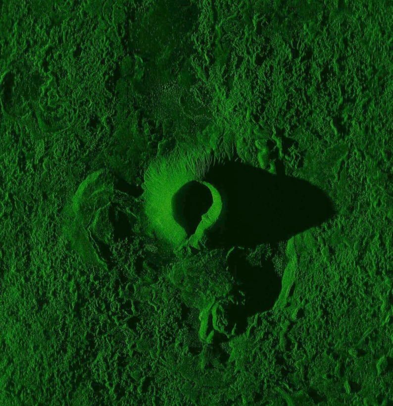 This image of an extinct volcano crater in southern California was taken during system level verification test flights of the Block 40 Global Hawk Multi-Platform Radar Technology Insertion Program sensor on the Proteus surrogate aircraft. It shows the radar's ability to show terrain features in high detail. (U.S. Air Force image)
